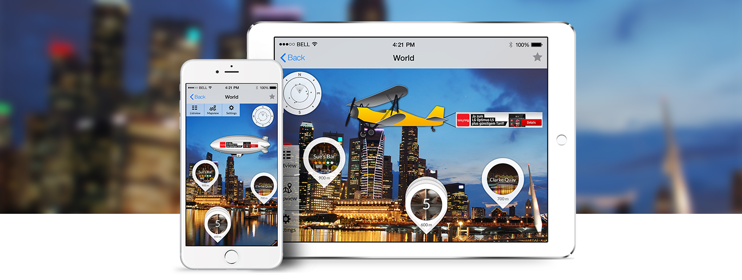 Mobile phone and tablet displaying Augmented Reality advertising via a floating zeppelin in IQ mobile app