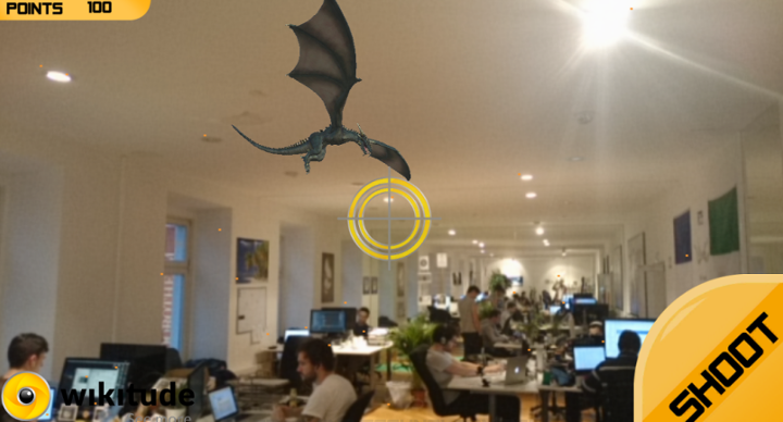 Shooting AR mobile app rendering a 3D model of a dragon