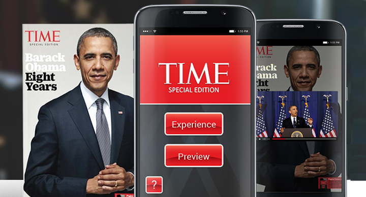 Time magazine cover augmented with image recognition