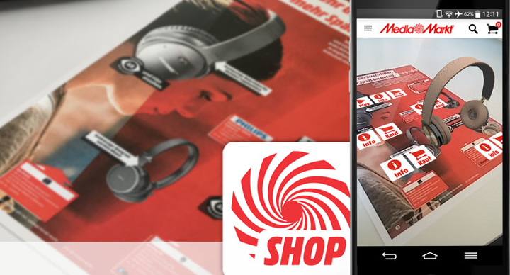 Media Markt product brochure augmented with Wikitude image recognition and tracking technology