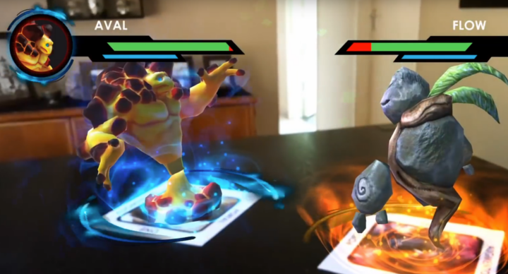 Augmented reality card game based on multiple target-image recognition