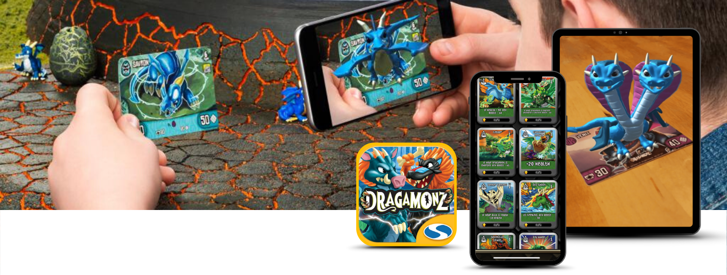augmented reality trading battle cards - Dragamonz