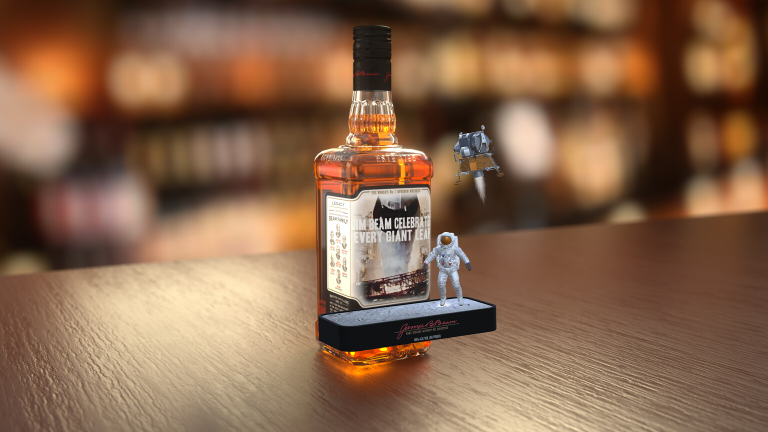 AR Product Packaging - Jim Beam augmented reality Man on the Moon